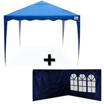 Kit Tenda Gazebo 3x3mts Dobravel Articulada + 2 Paredes Azul  Bel