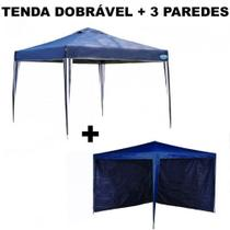Kit Tenda Gazebo Base e Topo 3x3 M + 3 Paredes Azul Sem Janela  Mor -