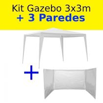 Kit Tenda Gazebo Branco 3m X 3m + 3 Paredes Laterais Sem Janela  Bel -
