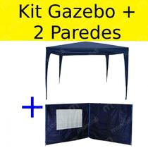 Kit Tenda Gazebo de Encaixe 3x3 + 2 Paredes Laterais Azuis  Bel