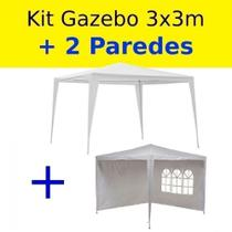 Kit Tenda Gazebo de Encaixe 3x3 M + 2 Paredes Cor Branca  Bel -