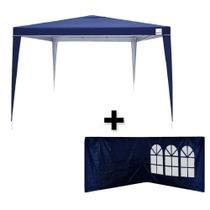 Kit Tenda Gazebo de Encaixe 3x3m Azul + 2 Paredes Lateral em Oxford  Bel -