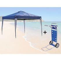 Kit Tenda Gazebo Dobravel 3x3 Mts + Carrinho de Praia com Avanco  Mor -