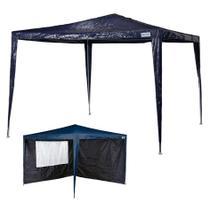 kit Tenda Gazebo Rafia Azul 3x3 m + Conjunto 2 Paredes Oxford - Mor -