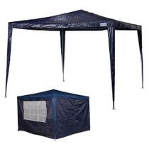 kit Tenda Gazebo Rafia Azul 3x3 m + Conjunto 4 Paredes Oxford - Mor -