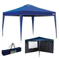Kit Tenda Gazebo X-flex 3x3 m Articulado + Conjunto 2 Paredes Azul - Mor -