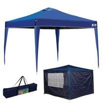 Kit Tenda Gazebo X-flex 3x3 m Articulado + Conjunto 4 Paredes Azul - Mor -