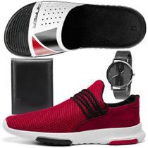 Kit Tênis Caminhada Conforto Masculino Rebento em Nylon Vermelho com Chinelo, Carteira e Relógio -
