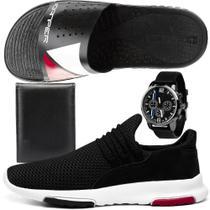Kit Tênis Caminhada Masculino SapatoFran em Nylon Com Chinelo Slide + Carteira + Relógio -