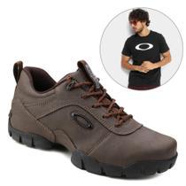 Kit Tênis Couro Oakley Enduro Masculino + Camiseta Oakley Ellipse Masculina G -
