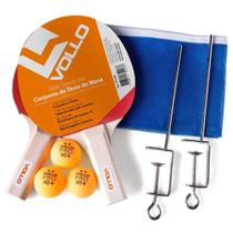 Kit Tenis De Mesa Ping Pong 2 Raquetes 3 Bolas Rede Vollo -
