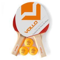 Kit Tênis de mesa Vollo 2 raquetes 3 bolas Iniciante -
