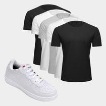 Kit Tênis Force Saxxon Masculino + Camiseta Básica Masculina C/ 5 Peças Tamanho M -