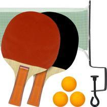 Kit Tênis Mesa Ping Pong 2 Raquetes Bolinhas Rede e Suporte - Brasport