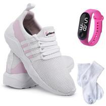 Kit Tênis Sneaker Feminino + Relógio Digital + Meia Conforto - Schiareli