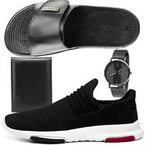 Kit Tênis Sneaker Masculino Rebento Com Chinelo Slide Esportivo com Relógio e Carteira -