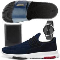 Kit Tênis Sneaker Masculino Rebento Com Chinelo Slide Esportivo Marinho Relógio e Carteira -