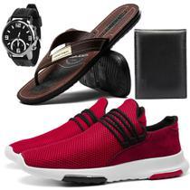 Kit Tênis Vermelho para Caminhada com Chinelo Relógio e Carteira - Zabath