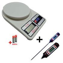 Kit Termômetro Culinário Digital Espeto + Balança de Precisão 10kg - Frigopro