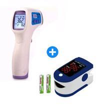 Kit Termômetro Digital Medição Oxigênio Temperatura Febre Líquidos + Oximetro Digital Dedo - Boas