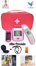 Kit Termômetro testa Digital Infravermelho Testa+ Aparelho de Pressão Digital+ Oxímetro Dedo/Pulso Adulto/Pediátrico - Boyxm