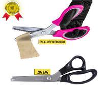 Kit Tesoura Picotar Zig Zag + Escalope Tecidos Artesanato - PREMIER