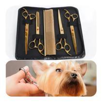 Kit Tesouras Banho e Tosa Pet Shop Profissional 7 Polegadas caplam -