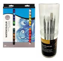 Kit Tinta Aquarela 24 Cores Bisnaga + 10 Pincéis Com Estojo - Pixel Art Books