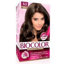 Kit Tintura Creme Biocolor Castanho Claro Dourado 5.3 -