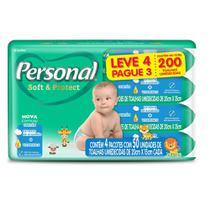 Kit Toalha Umedecida Personal Soft e Protect Leve 4 Pague 3 Com 50 Unidades -