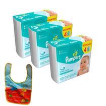 Kit Toalhinhas Umedecidas Pampers Fresh Clean 576 un. + Babador -