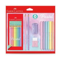 Kit Tons Pastel Faber-Castell Lápis de Cor + Caneta + Lápis + Apontador + Borracha Kit/Pastel 29839 -