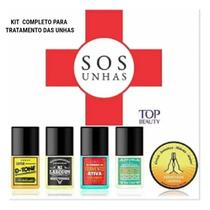 Kit Top Beauty SOS Unhas Bases E Cerinha Para Cutículas -