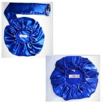 Kit Touca Difusora +Touca de Dormir de Cetim Azul - Zip Zag Atelie