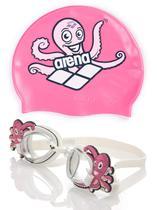 Kit Touca + Óculos de Natação Polvo Rosa Octopus Arena -