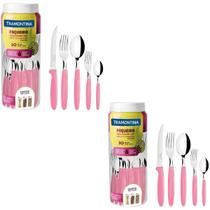 Kit Tramontina 2 Conjunto de Talheres Faqueiro Rosa em Aço Inox Jogo de Cozinha Ipanema 60 Peças -