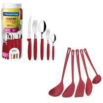 Kit Tramontina Jogo Talheres Faqueiro Inox Vermelho + Utensílios de Cozinha Vermelho Nylon 35Pç -