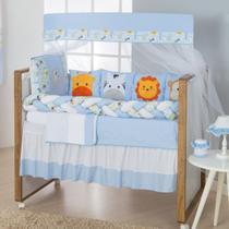 Kit Trança Berço Savana Azul Claro  11 Pçs - Gaby Baby Enxovais