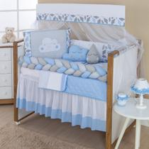 Kit Trança Mini Berço Nuvem Azul Claro 10pçs Almofada Brinde - Gaby Baby Enxovais