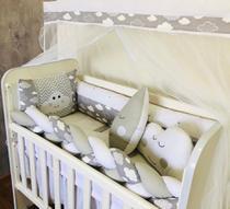 Kit Trança Mini Berço Nuvem Cinza 12 Peças - Bebê Enxovais