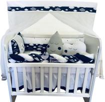 Kit Trança Mini Berço Nuvem Marinho 12 Peças - Bebê enxovais