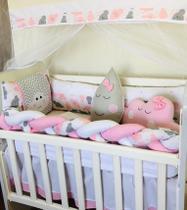 Kit Trança Mini Berço Nuvem Rosa 12 Peças - Bebê Enxovais
