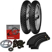 Kit Transmissão + Kit Pneu Biz 125 80/100-14 + 60/100-17 Mt15 Pirelli - Pirelli E Dia-Frag