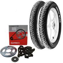 Kit Transmissão + Kit Pneu Factor 125 90/90-18 + 275-18 Mt65 Tl Pirelli - Pirelli E Dia-Frag