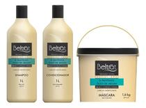 kit tratamento capilar beltrat profissional shampoo + cond 1 litro + máscara 1,6kg óleo de argan -