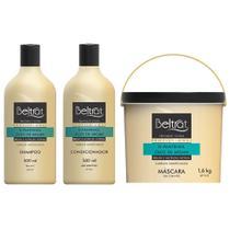 kit tratamento capilar beltrat profissional shampoo + cond 500ml + máscara 1,6kg óleo de argan -