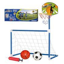 Kit trave de futebol e tabela de basquete mini golzinho cesto aro 2 em 1 gol com 2 bolas e bomba infantil - Gimp