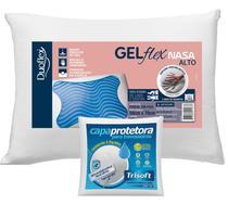 Kit Travesseiro Nasa GelFlex Alto 50x70cm com Capa Protetora - Duoflex  Trisoft