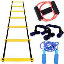 Kit Treinamento Funcional Para Exercicios Fisicos Escadinha Elastico Corda Apoio Flexão - Mbfit