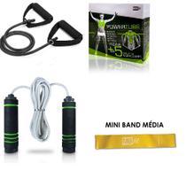 Kit Treine Em Casa Extensor 1via + Corda + Mini Band Média - Fitness
